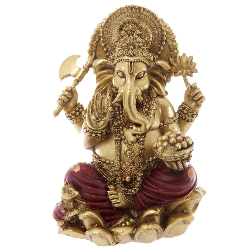 Decorative Gold and Red 16cm Ganesh Statue