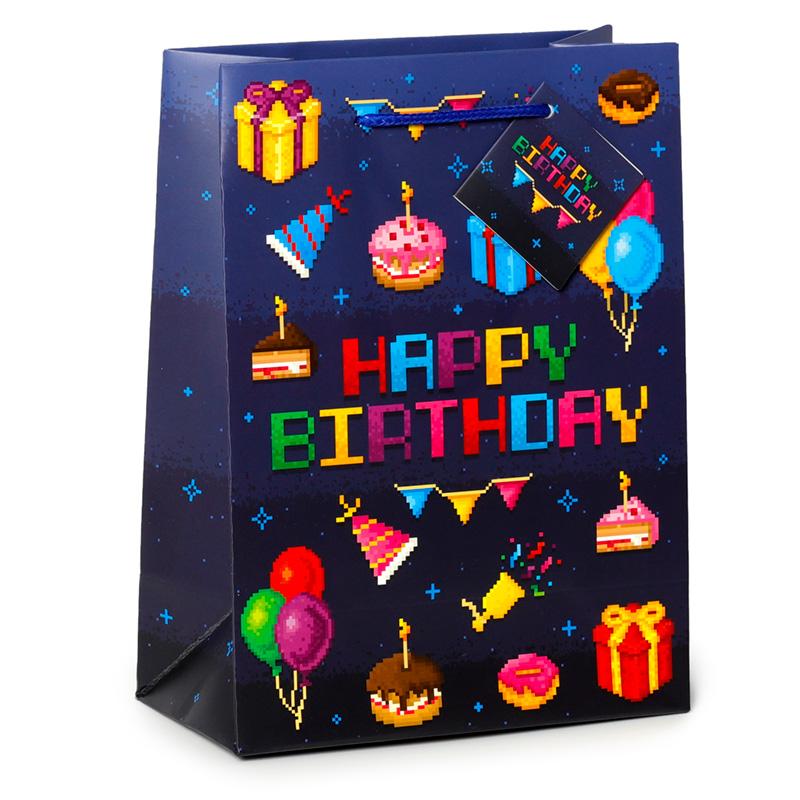 Happy Birthday Game Over Gamer Design Medium Gift Bag