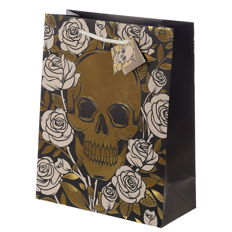 Skulls  Roses Metallic Large Gift Bag