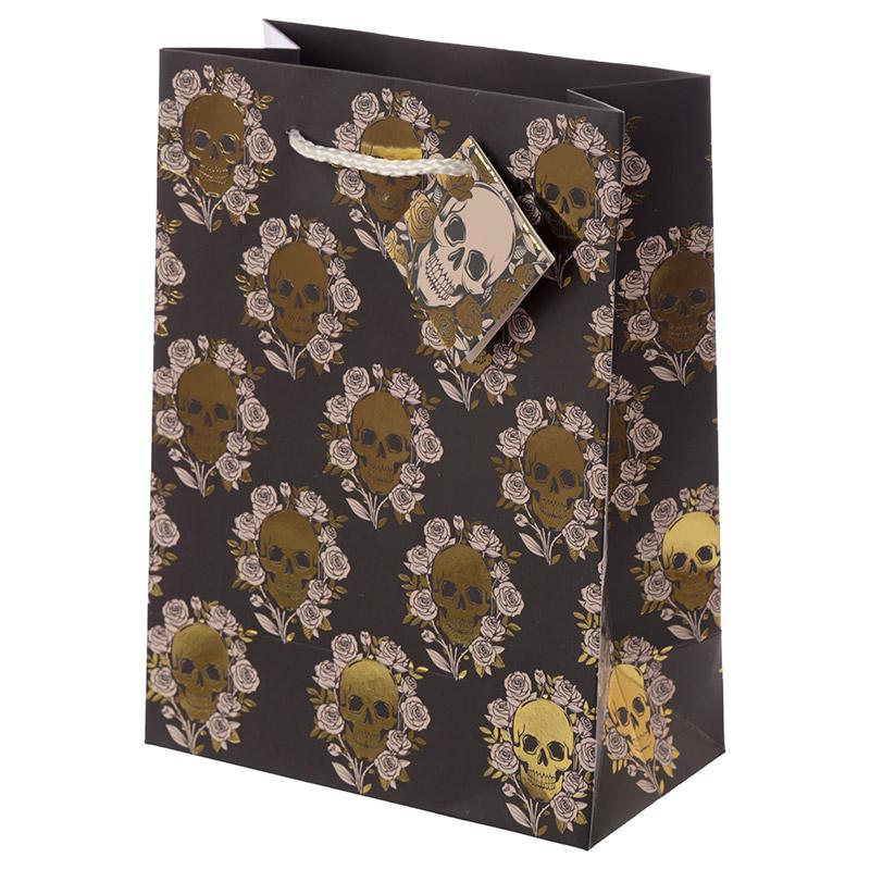 Skulls  Roses Metallic Medium Gift Bag