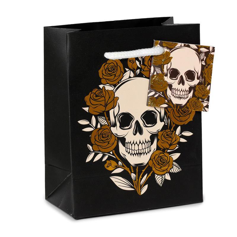 Skulls  Roses Metallic Small Gift Bag