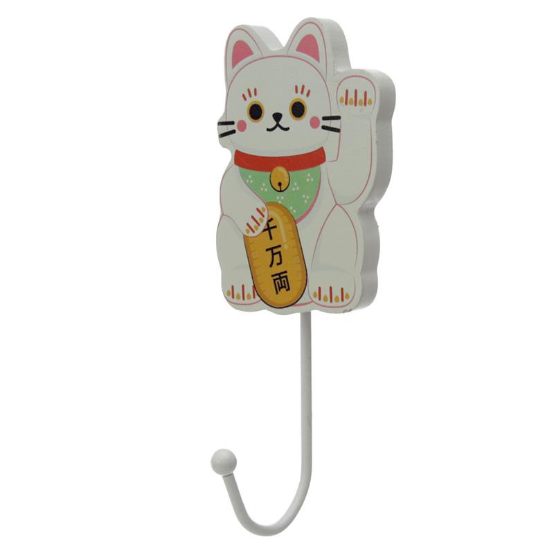Fun Wooden Wall Hook Lucky Cat Maneki Neko
