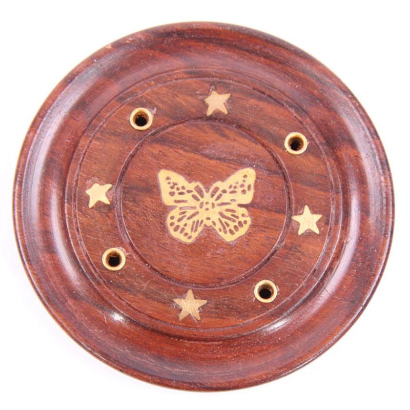 Decorative Sheesham Wood Round Butterflies Ashcatcher