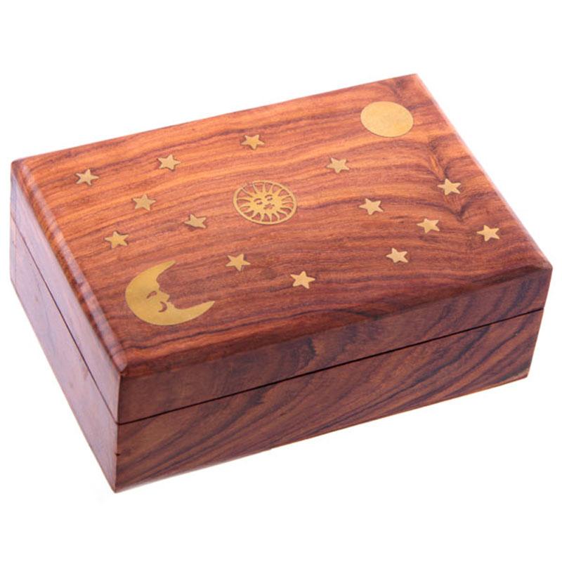Decorative Sheesham Wood Trinket Box with Stars and Moon