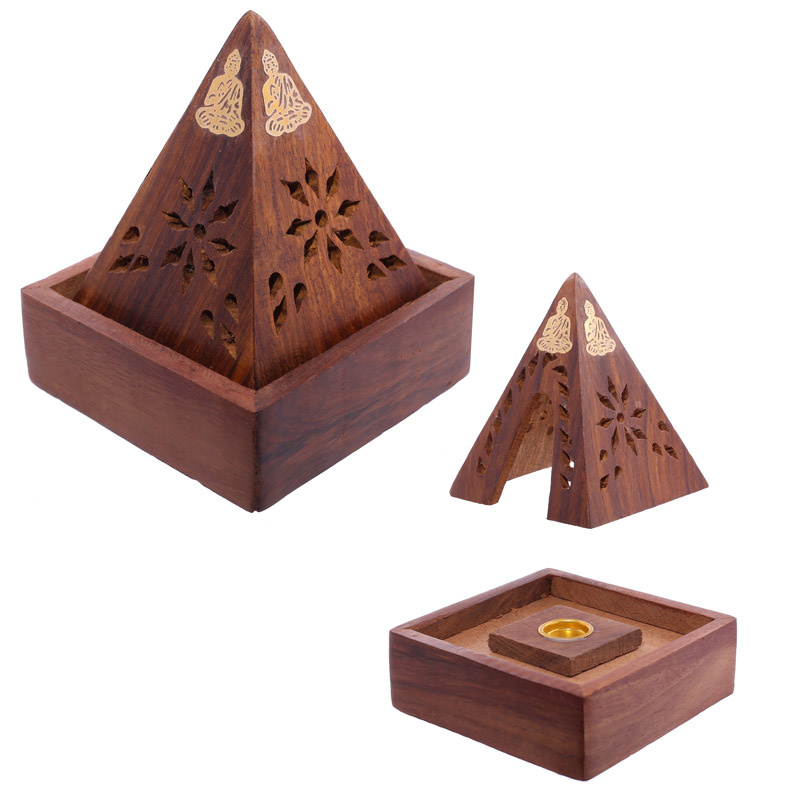 Decorative Sheehsam Wood Incense Cone Pyramid Box