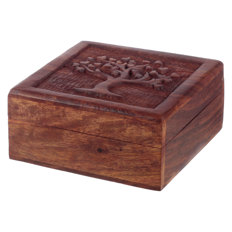 Carved Sheesham Wood Tree of Life Trinket Box