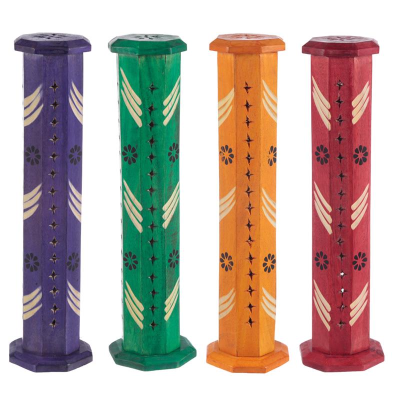 Decorative Flower Fretwork Wooden Tower Incense Burner Box
