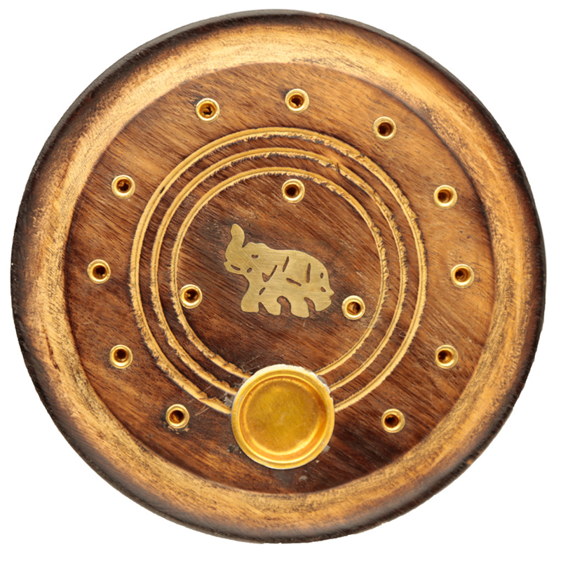 Decorative Round Elephant Wooden Incense Burner Ash Catcher