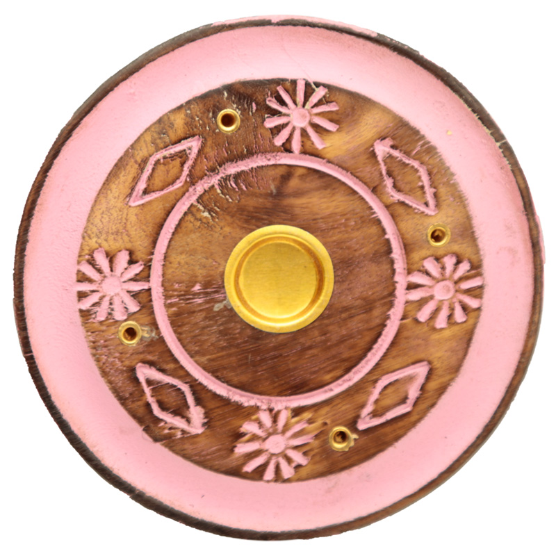 Decorative Round Painted Leaf Wooden Incense Burner Ash Catcher