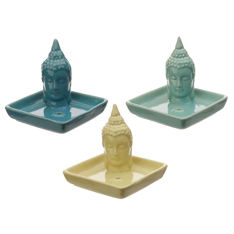 Square Ceramic Eden Ashcatcher Incense Burner Thai Buddha