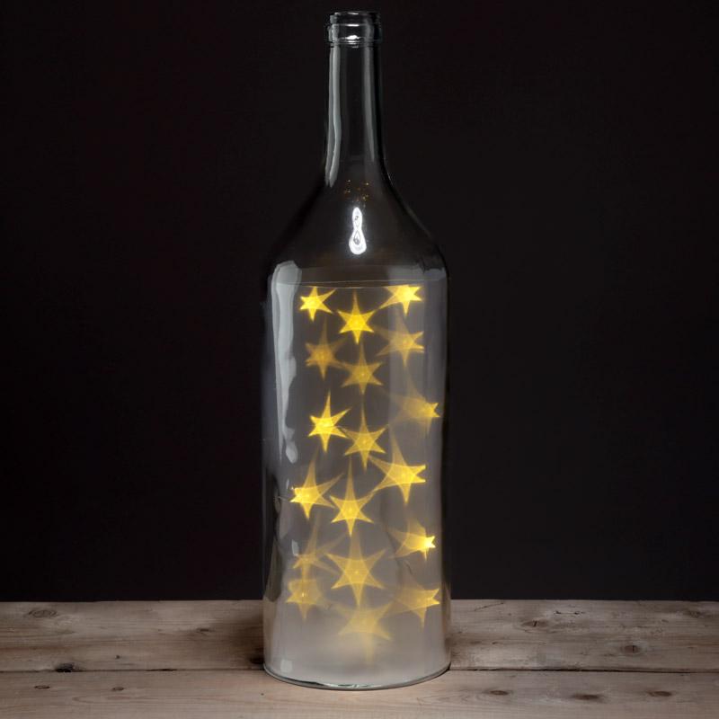 Decorative LED Glass Light Jar Bottle with White Stars Large