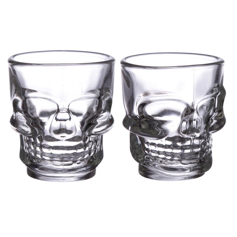 Fun Collectable Glass Shot Glass Set of 2 Skulls 60ml