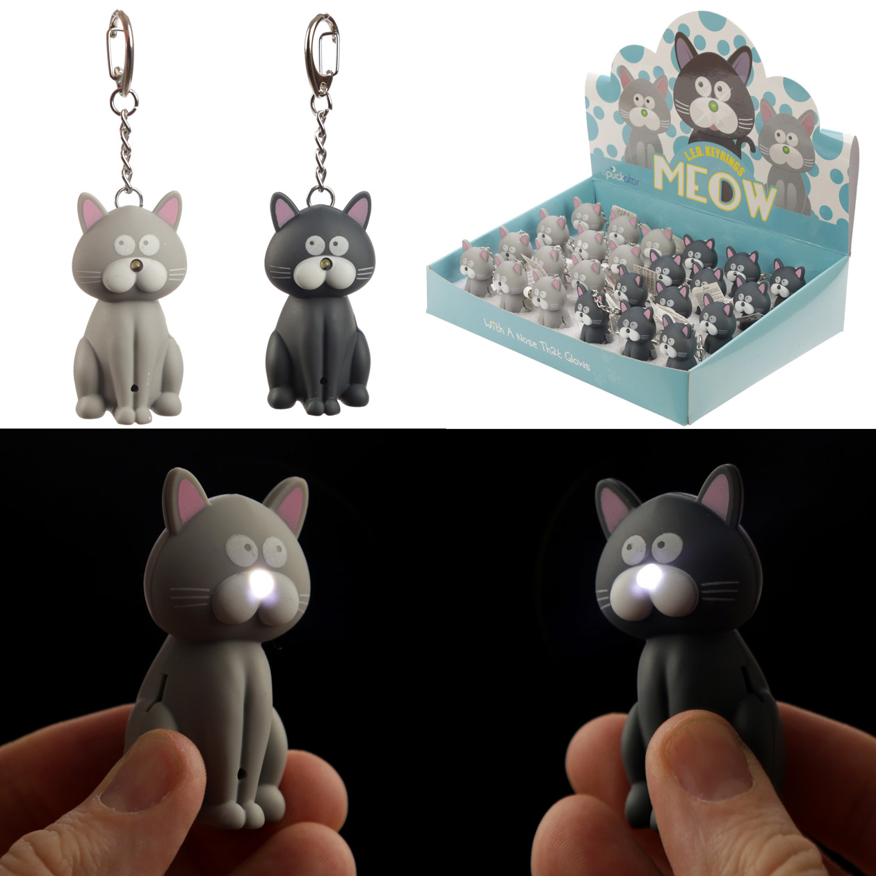 Meowing Light and Sound Kitty Cat Keyring