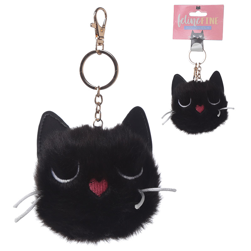 Fun Collectable Pom Pom Keyring Black Cat