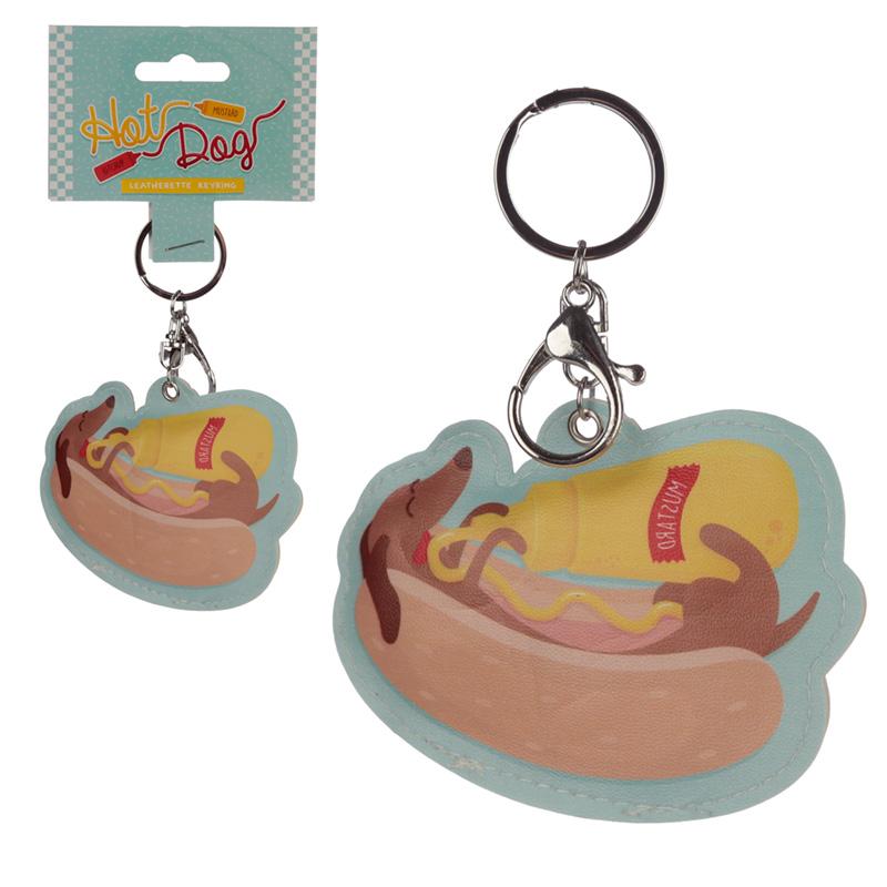 Fun Leatherette Hot Dog Keyring