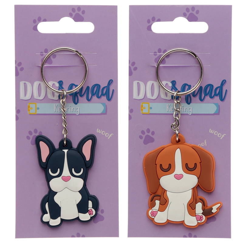 Cute Novelty Dog Squad PVC Keyring