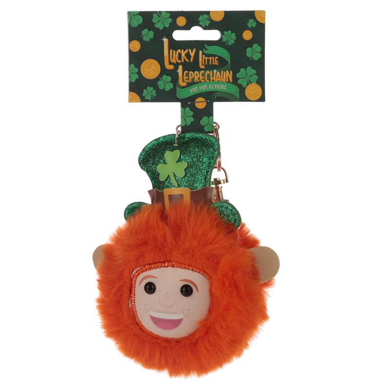 Fun Collectable Pom Pom Keyring Lucky Leprechaun