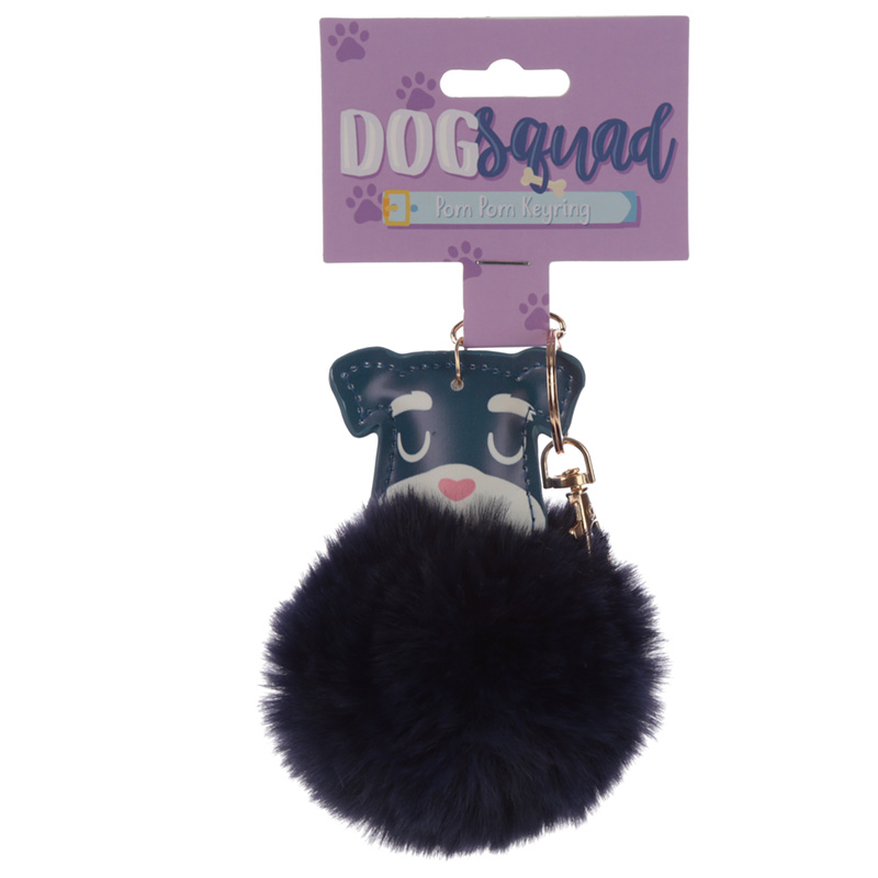 Fun Collectable Pom Pom Keyring Dog Squad Schnauzer