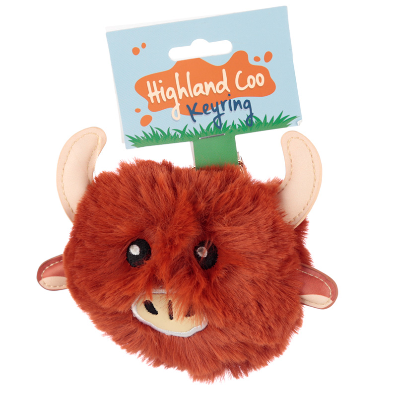 Fun Collectable Pom Pom Keyring Highland Coo Cow