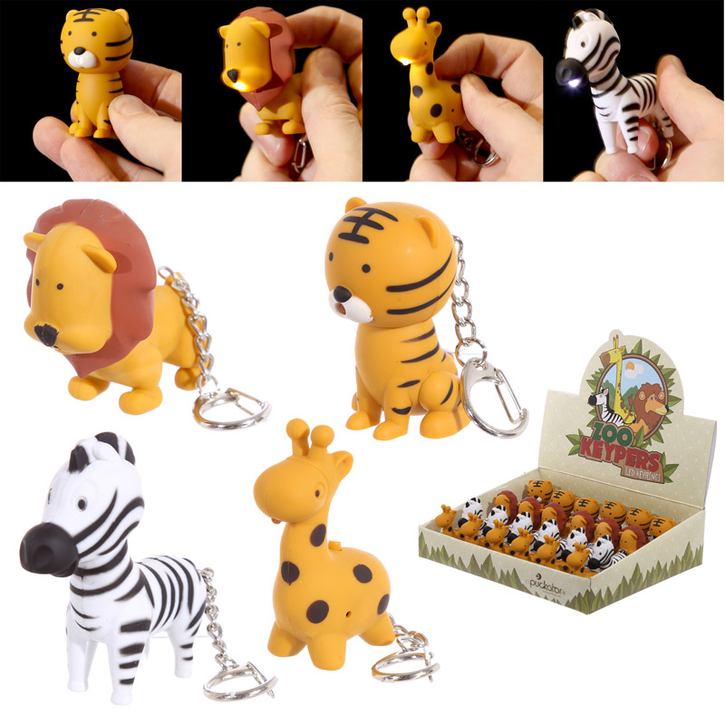 Novelty LED Zoo Designs Key Rings with Sound