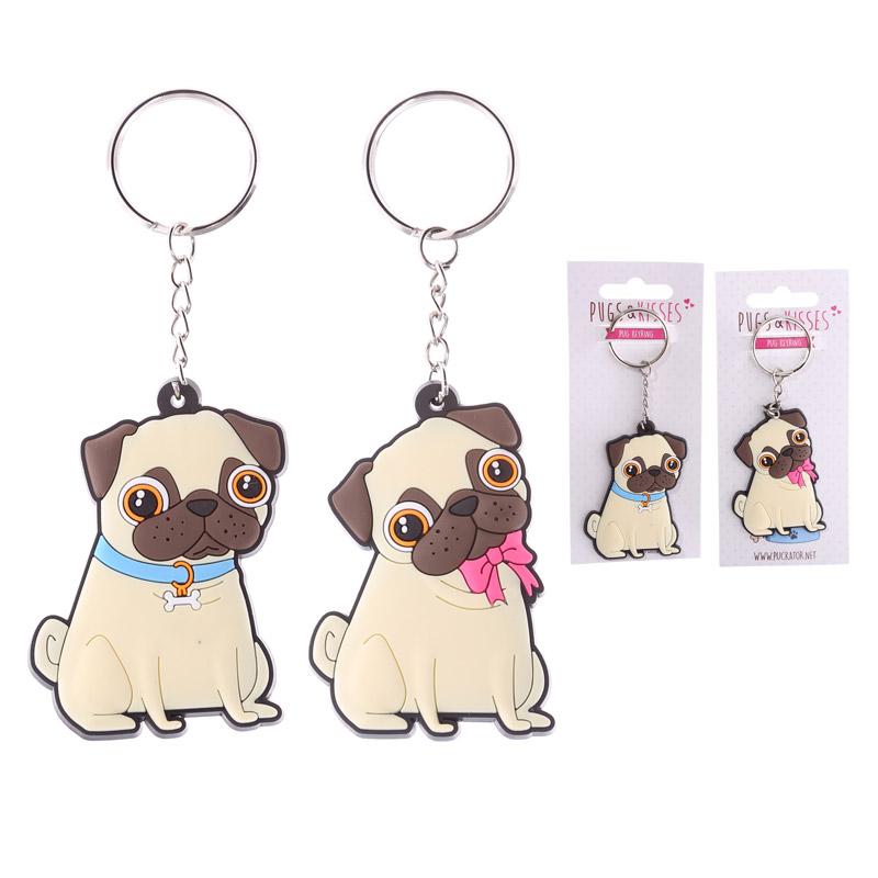 Fun PVC Keyring Cute Pug Design