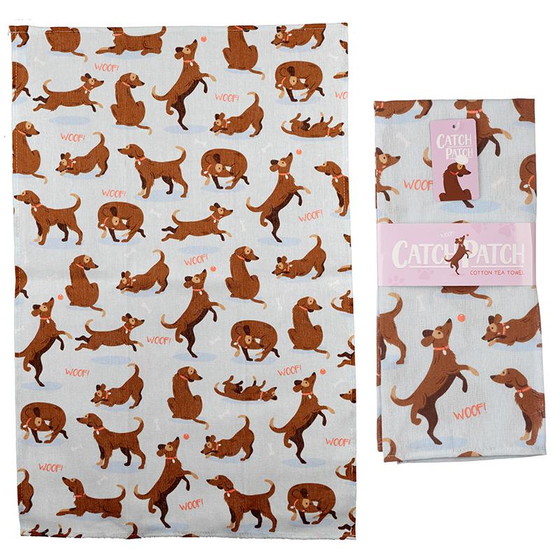 Fun Catch Patch Dog Design Poly Cotton Tea Towel