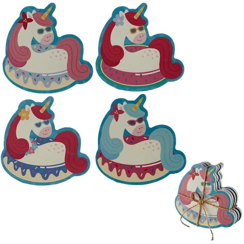 Set of 4 Novelty Coasters Vacation Vibes Unicorn