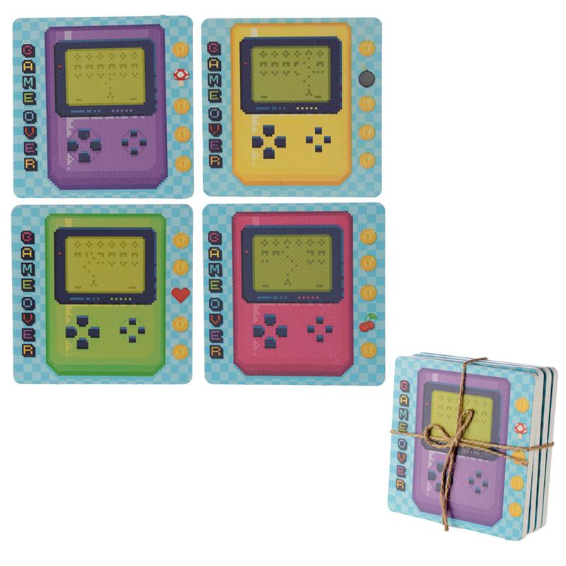 Set of 4 Novelty Coasters Retro Gaming Design
