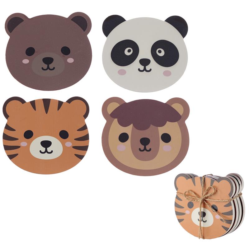 Set of 4 Novelty Coasters Cute Animals Design