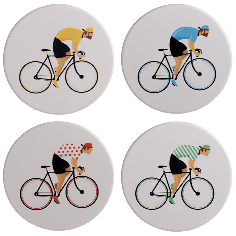 Set of 4 Novelty Coasters Cycle Works Bicycle