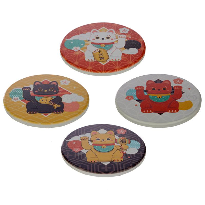 Set of 4 Novelty Coasters Lucky Cat Maneki Neko