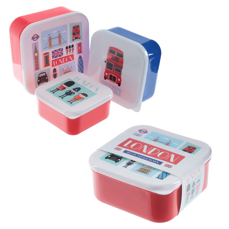 Fun London Design Set of 3 Plastic Lunch Boxes