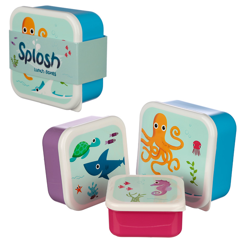 Cute Sealife Design Set of 3 Plastic Lunch Boxes