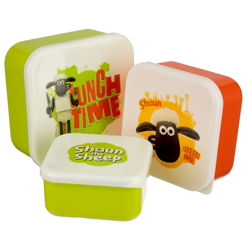 Fun Shaun The Sheep Set of 3 Plastic Lunch Boxes
