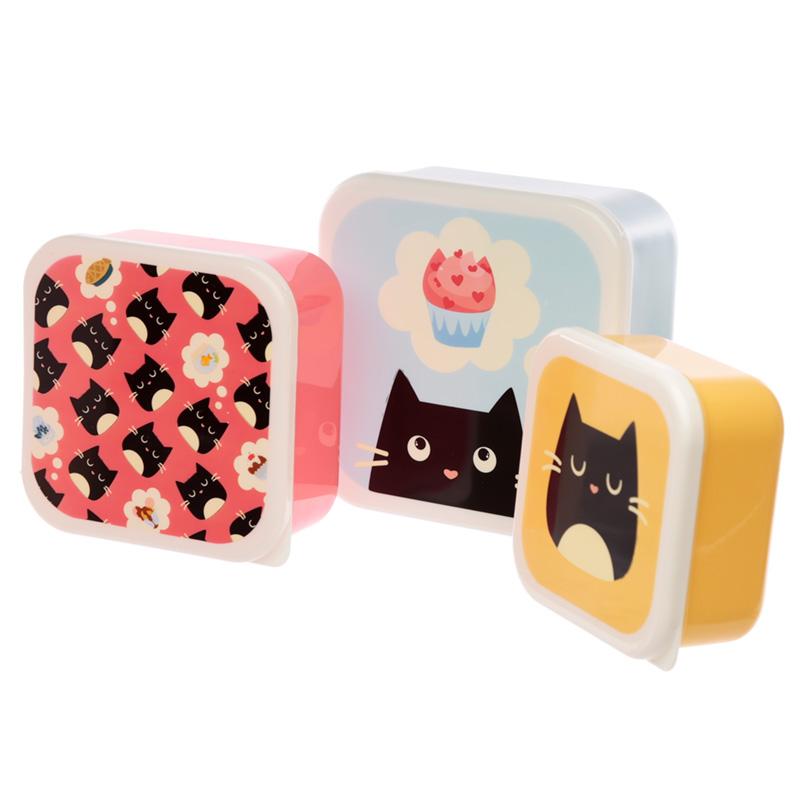 Cute Feline Fine Cat Set of 3 Plastic Lunch Boxes MLXL