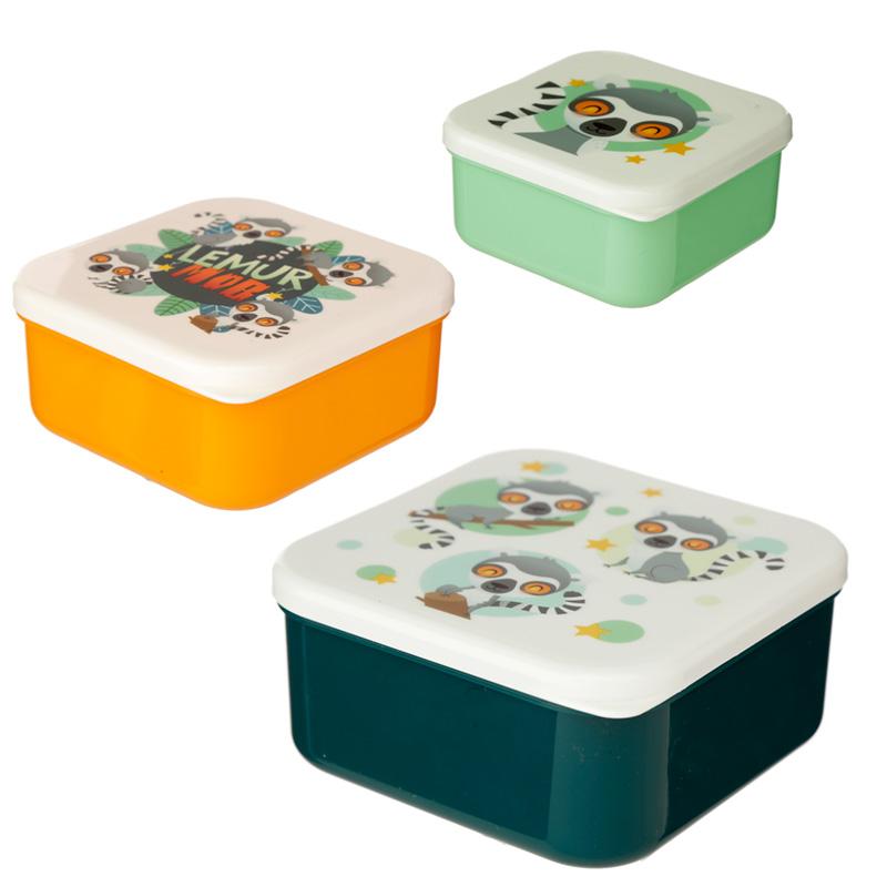 Lemur Mob Set of 3 Reusable BPA Free Plastic Lunch Boxes