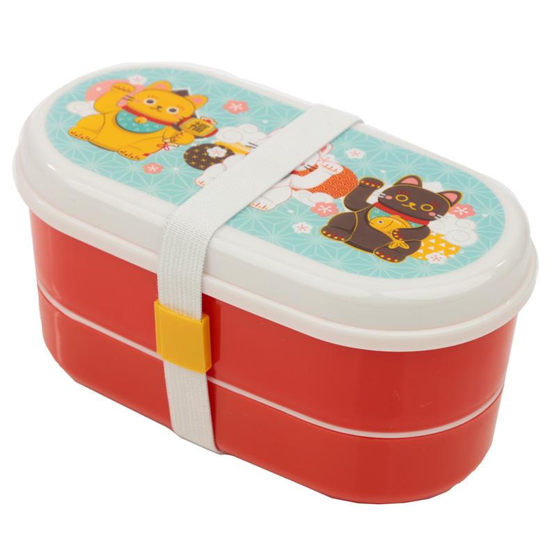 Bento Lunch Box with Fork  Spoon Maneki Neko Lucky Cat