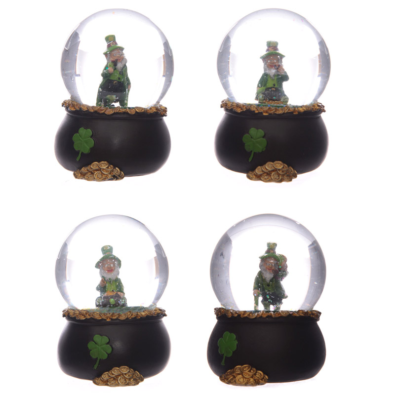 Lucky Leprechaun Pot of Gold Waterball Snow Globe