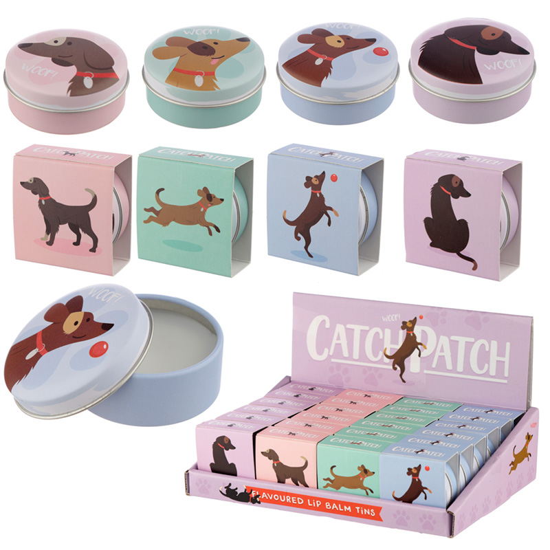 Funky Lip Balm in a Tin Catch Patch Dog Design