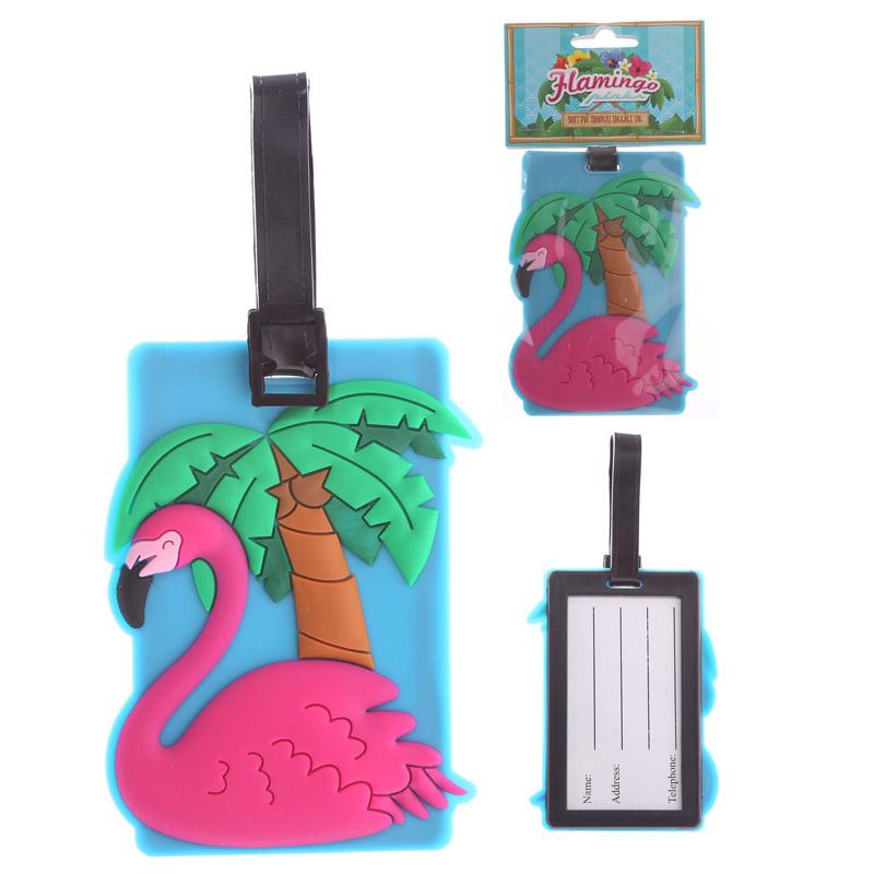 Fun PVC Luggage Tag Flamingo