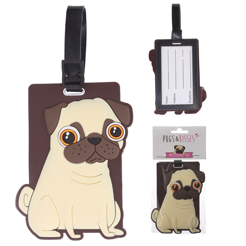 Fun Novelty Pug Design PVC Luggage Tag