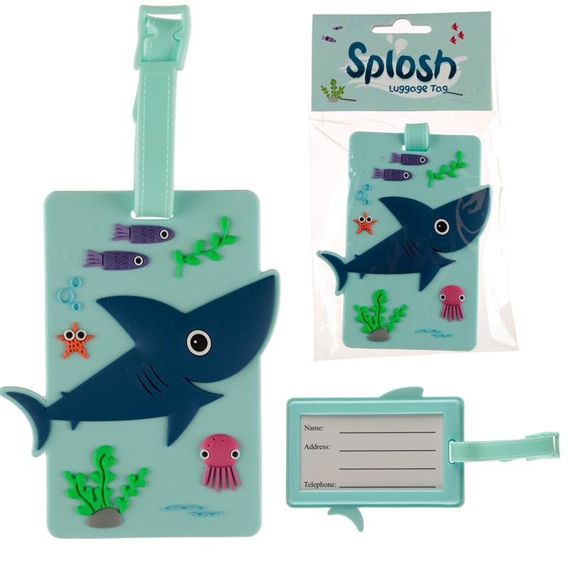 Fun PVC Luggage Tag Shark Design