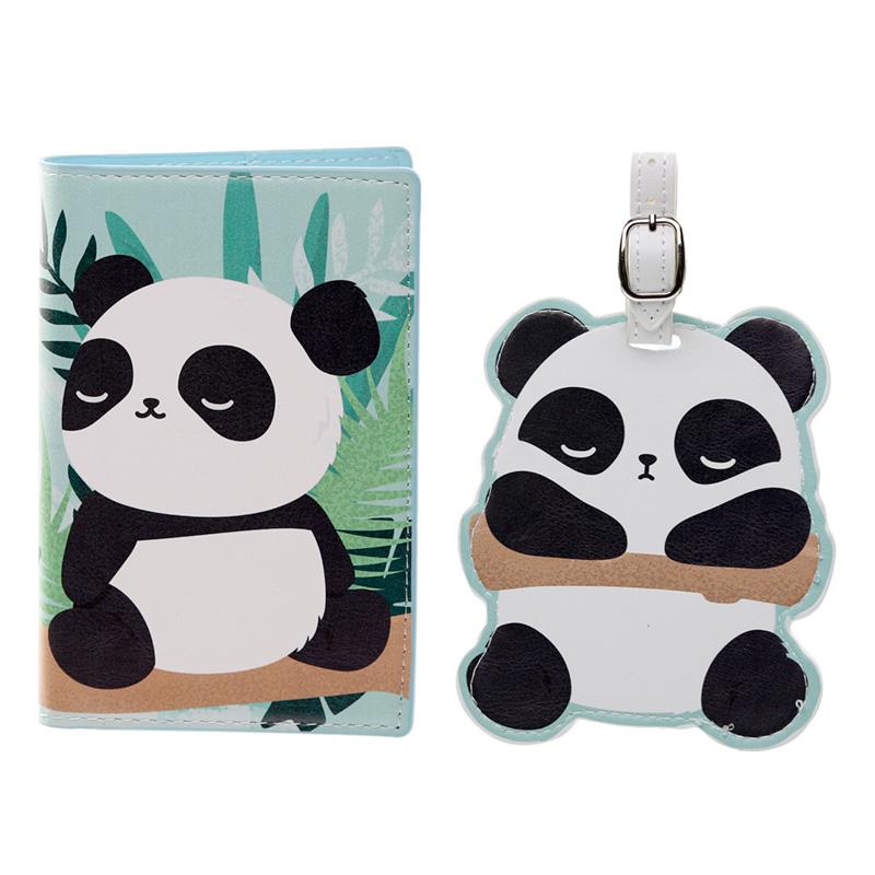 Fun Novelty Pandarama Luggage Tag and Passport Cover Set