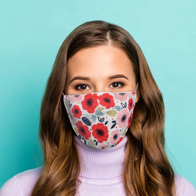 Poppy Fields Reusable Face Covering Large