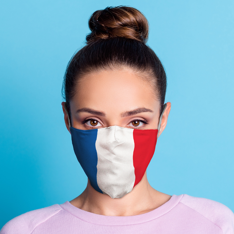 French Flag Reusable Face Covering Large