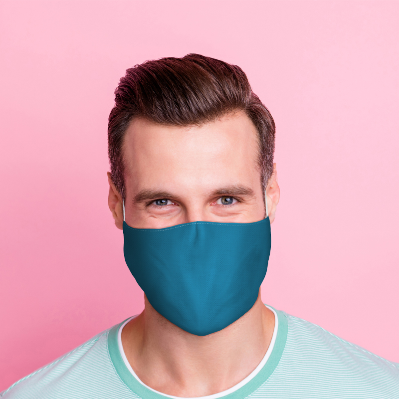 Blue Reusable Face Covering Large