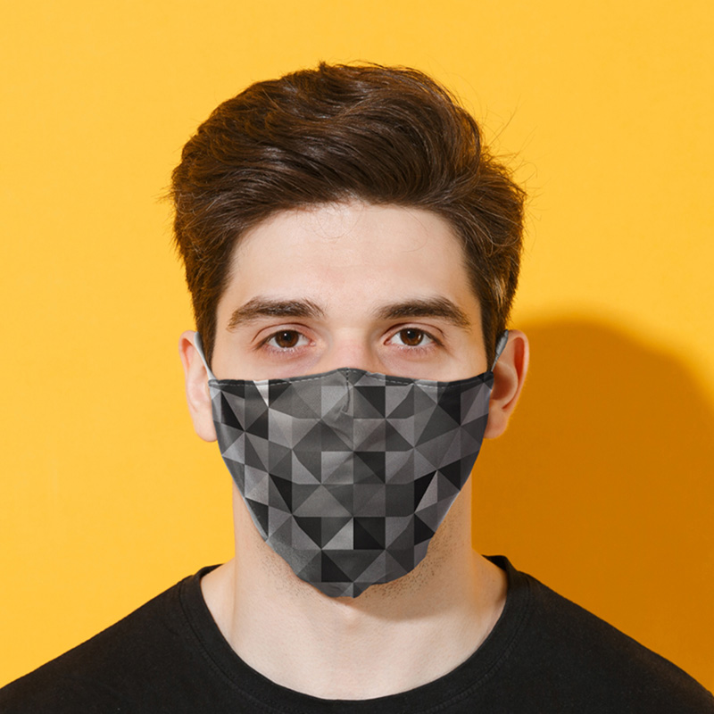 Geometric Black  Grey Triangles Print Reusable Face Covering Large