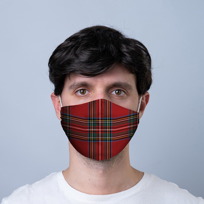 Red Tartan Reusable Face Covering Large