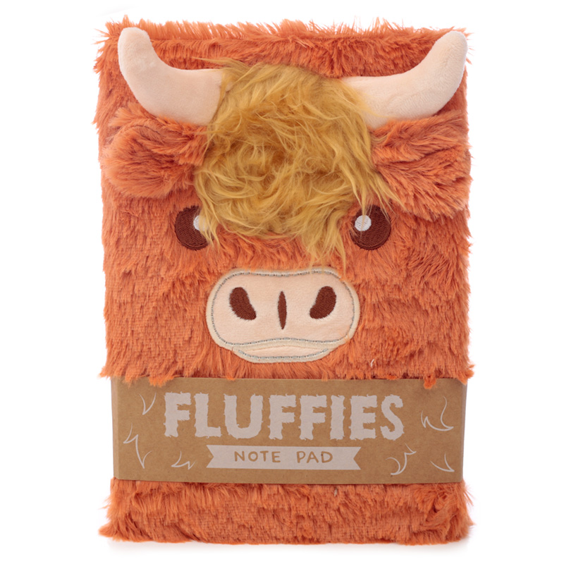 Fluffy Plush Notebook Highland Coo Cow