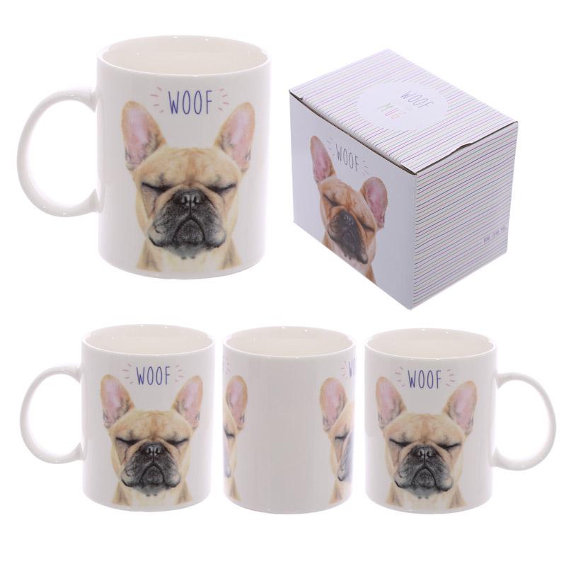 Fun Porcelain Mug WOOF French Bulldog Design